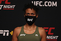 30th April 2021; Las Vegas, Nevada, USA;  Luana 'Dread' Carolina poses on the scale during the UFC Fight Night: Reyes versus  Prochazka Weigh-in at UFC Apex on April 30, 2021, in Las Vegas, Nevada.