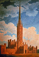 Fonthill Abbey, view from Northwest.  Watercolor by Charles Wild, 1799.<br />