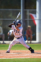 FIU Panthers second baseman Derek Cartaya (5) bats during a game against the South Dakota State Jackrabbits on February 23, 2019 at North Charlotte Regional Park in Port Charlotte, Florida.  South Dakota defeated FIU 4-3.  (Mike Janes/Four Seam Images)