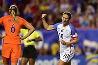 Atlanta, GA - Sunday Sept. 18, 2016: Carli Lloyd celebrates scoring during a international friendly match between United States (USA) and Netherlands (NED) at Georgia Dome.