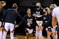 SANTA CRUZ, CA - JANUARY 22: Kiana Williams #23 being introduced before the Stanford Cardinal women's basketball game vs the UCLA Bruins at Kaiser Arena on January 22, 2021 in Santa Cruz, California.