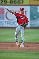 Jeremiah Jackson (00) of the Orem Owlz during the game against the Ogden Raptors at Lindquist Field on July 27, 2019 in Ogden, Utah. The Raptors defeated the Owlz 14-1. (Stephen Smith/Four Seam Images)
