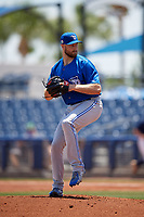 Dunedin Blue Jays starting pitcher Justin Dillon (25) during a Florida State League game against the Charlotte Stone Crabs on April 17, 2019 at Charlotte Sports Park in Port Charlotte, Florida.  Charlotte defeated Dunedin 4-3.  (Mike Janes/Four Seam Images)