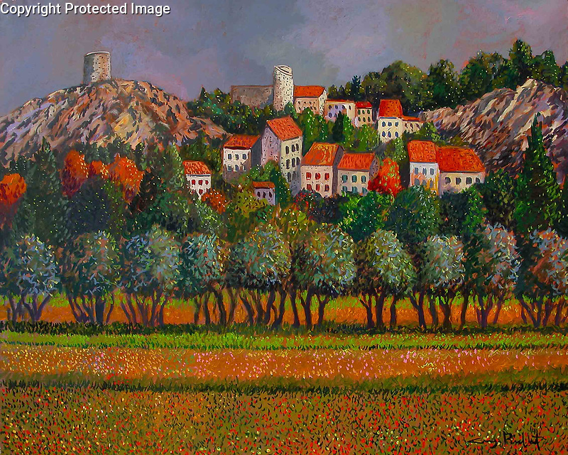"""""""Provence; Eygalieres""""<br /> Acrylic on Canvas<br /> <br /> 39.25 x 32.75 inches<br /> $25,000<br /> <br /> Eygalieres is a small quiet village very near St. Remy de Provence in the south of France.<br /> <br /> The village is surrounded by the superb landscape of the Alpilles, with olive groves, green valleys and vineyards near tastefully restored residences."""