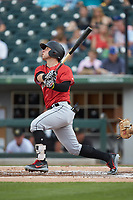 Wyatt Mathisen (19) of the Indianapolis Indians follows through on his swing against the Charlotte Knights at BB&T BallPark on May 26, 2018 in Charlotte, North Carolina. The Indians defeated the Knights 6-2.  (Brian Westerholt/Four Seam Images)