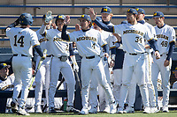 Michigan Wolverines infielder Brandon Lawrence (4) during the NCAA baseball game against the Illinois Fighting Illini on March 20, 2021 at Fisher Stadium in Ann Arbor, Michigan. Michigan won the game 8-1. (Andrew Woolley/Four Seam Images)