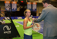 December 21, 2014, Rotterdam, Topsport Centrum, Lotto NK Tennis, Richel Hogenkamp (NED) is interviewed bij Alex Nelissen<br /> Photo: Tennisimages/Henk Koster