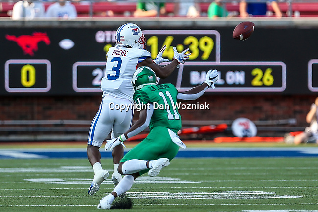 Southern Methodist Mustangs wide receiver James Proche (3) in action during the game between the UNT Mean Green and the SMU Mustangs at the Gerald J. Ford Stadium in Fort Worth, Texas.