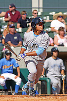 Adrian Ortiz #6 of the Wilmington Blue Rocks hitting in a game against the Myrtle Beach Pelicans on April 11, 2010  in Myrtle Beach, SC.