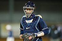 Catcher Jacob Stallings #5 of the North Carolina Tar Heels during the game against the Wake Forest Demon Deacons at Gene Hooks Field on March 11, 2011 in Winston-Salem, North Carolina.  Photo by Brian Westerholt / Four Seam Images