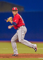 2 April 2016: Boston Red Sox infielder Josh Rutledge in action during a pre-season exhibition game against the Toronto Blue Jays at Olympic Stadium in Montreal, Quebec, Canada. The Red Sox defeated the Blue Jays 7-4 in the second of two MLB weekend games, which saw a two-game series attendance of 106,102 at the former home on the Montreal Expos. Mandatory Credit: Ed Wolfstein Photo *** RAW (NEF) Image File Available ***