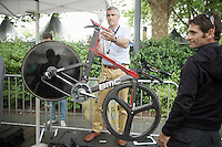 UCI bike weight check at the start<br /> <br /> stage 9: TTT Vannes - Plumelec (28km)<br /> 2015 Tour de France