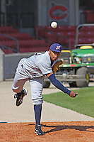 Jeremy Jeffress of the Huntsville Stars throwing in the bullpen before a game against the Carolina Mudcats at Five County Stadium in Zebulon, NC on April 22, 2009