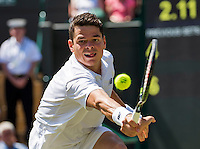 London, England, 6 th July, 2016, Tennis, Wimbledon, Quarter final men, Milos Raonic (CAN)  in action during his match against Sam Querrey (USA)<br /> Photo: Henk Koster/tennisimages.com