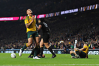 Israel Folau of Australia looks to the heavens as Ma'a Nonu of New Zealand scores a try during the Rugby World Cup Final between New Zealand and Australia - 31/10/2015 - Twickenham Stadium, London<br /> Mandatory Credit: Rob Munro/Stewart Communications