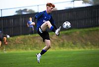 Owen Barnett controls the ball during the Central League football match between Miramar Rangers and Lower Hutt AFC at David Farrington Park in Wellington, New Zealand on Saturday, 10 April 2021. Photo: Dave Lintott / lintottphoto.co.nz