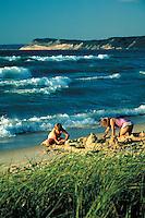 Beach with Lake Michigan waves and dunes of the National Lakeshore, recreation. Sleeping Bear Dunes NLS Michigan USA.