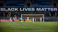 SAN JOSE, CA - SEPTEMBER 19: Black Lives Matter sign during a game between Portland Timbers and San Jose Earthquakes at Earthquakes Stadium on September 19, 2020 in San Jose, California.