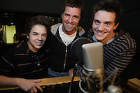 Montreal (Qc) CANADA -Oct 2009 -Carl Boucher (L), Marc Dupre (M) and ? do French voice over for Planet 51 movie