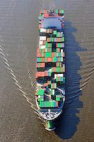 Containerschiff Charlotte Maersk in der Elbe: EUROPA, DEUTSCHLAND, HAMBURG, (EUROPE, GERMANY), 16.04.2009:Containerschiff Ever Conquest in der Elbe