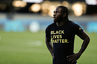 SAN JOSE, CA - SEPTEMBER 16: Yimmi Chara #23 of the Portland Timbers during warmups before a game between Portland Timbers and San Jose Earthquakes at Earthquakes Stadium on September 16, 2020 in San Jose, California.