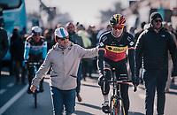 Belgian National Champion Oliver Naesen (BEL/AG2R-La Mondiale) getting a pad on the back on his way to the start<br /> <br /> 70th Kuurne-Brussel-Kuurne 2018<br /> Kuurne › Kuurne: 200km (BELGIUM)