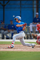 Toronto Blue Jays Brandon Polizzi (61) follows through on a swing during an Instructional League game against the Philadelphia Phillies on October 7, 2017 at the Englebert Complex in Dunedin, Florida.  (Mike Janes/Four Seam Images)