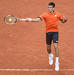 Novak Djokovic (SRB) defeats Jarko Nieminen (FINA) 6-2, 7-5, 6-2 at  Roland Garros being played at Stade Roland Garros in Paris, France on May 26, 2015