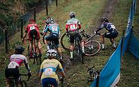 slippery descent crash<br /> <br /> women's race<br /> Soudal Jaarmarktcross Niel 2018 (BEL)
