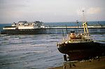 Athina B cargo ship washed up on Brighton Beach East Sussex   England January 22 1980. 1980s UK.