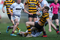 Tuesday 3rd March 2020 | RSA vs RBAI<br /> <br /> RBAI centre Jude Postlethwaite is tackled by Romain Morrow during the Ulster Schools' Cup Semi-Final between Royal School Armagh and RBAI at Kingspan Stadium, Ravenhill Park, Belfast, Northern Ireland. Photo by John Dickson / DICKSONDIGITAL