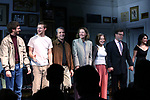 "Michael Cera, Lucas Hedges, Elaine May, Joan Allen, David Cromer, Kenneth Lonergan and Lila Neugebauer during the Opening Night Curtain Call bows for ""The Waverly Gallery"" at the Golden Theatre on October 25, 2018 in New York City."