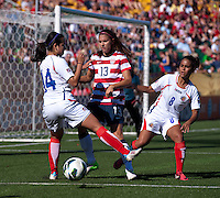 Alex Morgan, Mariam Ugalde, Daniela Cruz.  The USWNT defeated Costa Rica, 8-0, during a friendly match at Sahlen's Stadium in Rochester, NY.