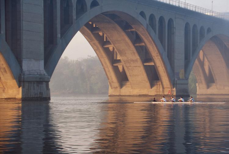 Rowing, Washington DC, Potomac River, Key Bridge, District of Columbia, Virginia, North America, USA, men's four, .