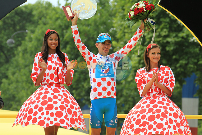 Anthony Charteau (FRA) Bbox Bouygues Telecom on the podium after winning the Mountains Polka Dot Jersey at the end of the final Stage 20 of the 2010 Tour de France running 102.5km from Longjumeau to Paris Champs-Elysees, France. 25th July 2010.<br /> (Photo by Eoin Clarke/NEWSFILE).<br /> All photos usage must carry mandatory copyright credit (© NEWSFILE | Eoin Clarke)