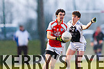 Patrick O'Keeffe Brosna is tackled by Glin's Kevin Sweeney during the Munster junior final in mallow on Sunday