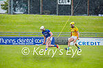 Kerry's Barry O'Mahony races ahead of James Kelly of Meath for possession in the National hurling league in Austin Stack Park on Sunday