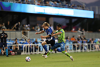 SAN JOSE, CA - MAY 12: Tommy Thompson #22 of the San Jose Earthquakes is marked by Raul Ruidiaz #9 of the Seattle Sounders during a game between Seattle Sounders FC and San Jose Earthquakes at PayPal Park on May 12, 2021 in San Jose, California.