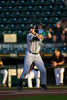Daytona Tortugas Garrett Wolforth (25) bats during a game against the Bradenton Marauders on June 9, 2021 at LECOM Park in Bradenton, Florida.  (Mike Janes/Four Seam Images)