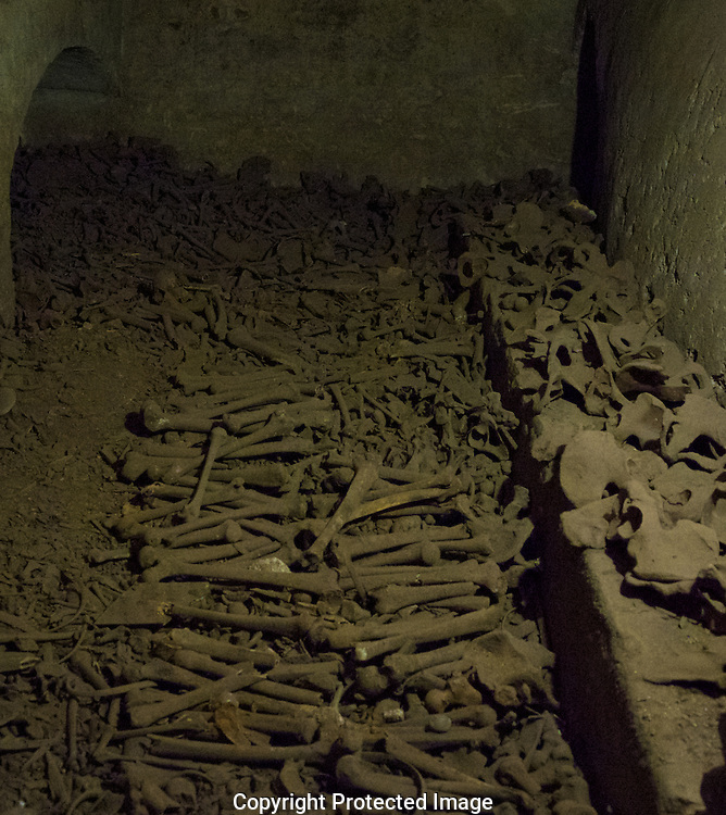 Human bones in the catacombs in San Francisco Monastery in Lima, Peru.