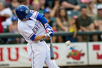 Round Rock Express second baseman Brent Lillibridge (18) swings the bat during the Pacific Coast League baseball game against the Oklahoma City RedHawks on August 1, 2014 at the Dell Diamond in Round Rock, Texas. The Express defeated the RedHawks 6-5. (Andrew Woolley/Four Seam Images)