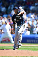 Milwaukee Brewers pitcher Mike Fiers (50) delivers a pitch during a game against the Chicago Cubs on August 14, 2014 at Wrigley Field in Chicago, Illinois.  Milwaukee defeated Chicago 6-2.  (Mike Janes/Four Seam Images)