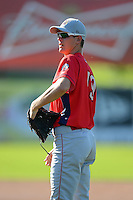 Williamsport Crosscutters pitcher Josh Warner #19 during practice before a game against the Jamestown Jammers on June 20, 2013 at Russell Diethrick Park in Jamestown, New York.  Jamestown defeated Williamsport 12-6.  (Mike Janes/Four Seam Images)