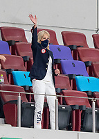 SAITAMA, JAPAN - JULY 24: Jill Biden, First Lady of the United States of America, waves to the USWNT after the match between New Zealand and USWNT at Saitama Stadium on July 24, 2021 in Saitama, Japan.