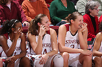 12 January 2008: Candice Wiggins, Kayla Pedersen, and Jayne Appel during Stanford's 83-49 win over Oregon at Maples Pavilion in Stanford, CA.
