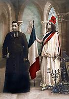 Allegorie de la separation de l'Eglise et de l'Etat qui prit effet en 1905 en France, illustration de 1907   ---   Allegory of separation between Church and State in 1905, illlustration of 1907