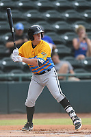 Andrew Vaughn (14) of Los Rapidos de Kannapolis at bat during a game against Las Llamas de Hickory at L.P. Frans Stadium on July 17, 2019 in Hickory, North Carolina. The Llamas defeated the Rapidos 7-5. (Tracy Proffitt/Four Seam Images)