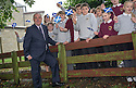 First Minister Alex Salmond chats to school kids from Strichen Primary whilst on the campaign trail in Inverurie.