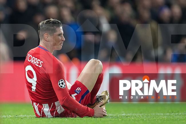Fernando Torres of Atletico Madrid shows frustration during the UEFA Champions League group match between Chelsea and Atletico Madrid at Stamford Bridge, London, England on 5 December 2017. Photo by Andy Rowland.
