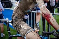 Ellen van Dijk (NED/Trek-Segafredo) showing what a rough race it has been...<br /> <br /> Inaugural Paris-Roubaix Femmes 2021 (1.WWT)<br /> One day race from Denain to Roubaix (FRA)(116.4km)<br /> <br /> ©kramon